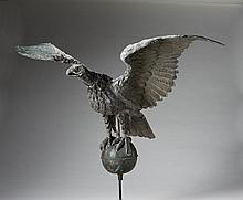 MOLDED COPPER FULL-BODIED DISPLAYED EAGLE AND SPHERE WEATHERVANE, TWENTIETH CENTURY.