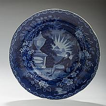 'LAFAYETTE AT WASHINGTON'S TOMB,' STAFFORDSHIRE DARK BLUE TRANSFER-PRINTED SOUP PLATE, THOMAS MAYER, STOKE, 1826-35.
