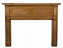 NEW ENGLAND FEDERAL CARVED PINE MANTEL.