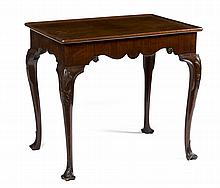 ENGLISH QUEEN ANNE SHELL-CARVED MAHOGANY TRAY-TOP TEA TABLE.