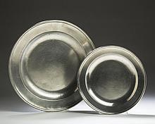 TWO LONDON PEWTER DISHES, THOMAS AND TOWNSEND COMPTON AND TOWNSEND & COMPTON.