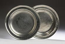 CONNECTICUT PEWTER DEEP DISH, JOSEPH BELCHER, NEW LONDON, AND ANOTHER PROBABLY THOMAS DANFORTH III.