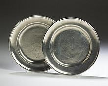 TWO CONNECTICUT PEWTER PLATES. AMOS TREADWAY, MIDDLETOWN AND NEW HAVEN; AND WILLIAM DANFORTH, MIDDLETOWN