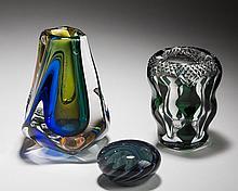 CALIFORNIA VINTAGE ART GLASS PAPERWEIGHT, BLACKSHEEP GLASS STUDIO, SAN DIEGO, 1986; AND A 'RIVER SERIES- VERDANT #PH41' VASE, PAUL HARRIE, HAWTHORNE, 2007.