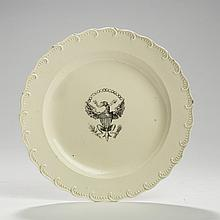 'GREAT SEAL OF THE UNITED STATES,' ENGLISH CREAMWARE BLACK TRANSFER-PRINTED PLATE, PROBABLY STAFFORDSHIRE, 1790-1800.