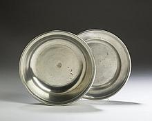 SAMUEL DANFORTH, HARTFORD AND MIDDLETOWN, CONNECTICUT PEWTER BASIN AND A PLATE.