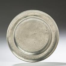 CONNECTICUT PEWTER PLATE, THOMAS DANFORTH II OR AMOS TREADWAY.