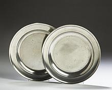 TWO LOVE OF PHILADELPHIA PEWTER PLATES.