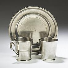 BOARDMAN FAMILY OF CONNECTICUT AND NEW YORK PEWTER PLATE AND A BEAKER.