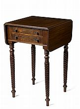 CLASSICAL STYLE MAHOGANY TWO-DRAWER DROP-LEAF WORK TABLE.
