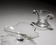 STEUBEN GLASS #801 OLIVE DISH, DESIGNED BY JAMES MCNAUGHTON IN 1937; AND A #8115 'CALYX' BOWL, DESIGNED BY DONALD POLLARD IN 1962.