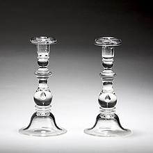 PAIR OF STEUBEN GLASS #7792 TEARDROP CANDLESTICKS, INTRODUCED IN 1937.