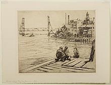 CHARLES WOODBURY (AMERICAN 1864-1940). THE NEW BRIDGE.