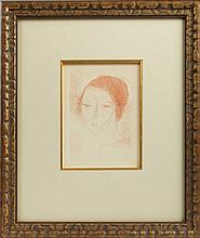 MARIE LAURENCIN (FRENCH 1885-1956). PORTRAIT OF A YOUNG WOMAN.