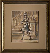 REGINALD MARSH (AMERICAN 1898-1954). CITY STREET SCENE WITH A YOUNG WOMAN WALKING.