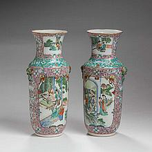 PAIR OF CHINESE EXPORT PORCELAIN FAMILLE ROSE VASES.