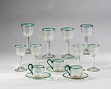 SET OF MOLDED AND PRESSED GLASSWARE, POSSIBLY STEUBEN.