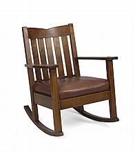 ARTS & CRAFTS OAK V-BACK ROCKING CHAIR, STICKLEY & BRANDT CHAIR COMPANY, BINGHAMTON, NEW YORK, 1891-1918.
