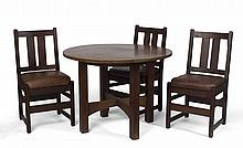 ARTS & CRAFTS OAK CIRCULAR TABLE, GUSTAV STICKLEY, EASTWOOD, NEW YORK; AND THREE SIDE CHAIRS WITH LEATHER SEATS, ONE MARKED L. & J.G. STICKLEY, 1907-12.