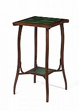 ART NOUVEAU FRUITWOOD STAND, FITTED WITH PORTUGUESE GREEN-GLAZED TILES, FIRST HALF TWENTIETH CENTURY.