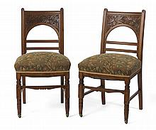 PAIR OF AMERICAN AESTHETIC MOVEMENT CARVED WALNUT SIDE CHAIRS, LATE NINETEENTH CENTURY.