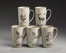 SET OF FIVE EDWIN AND MARY SCHEIER POTTERY MUGS, MID-TWENTIETH CENTURY.