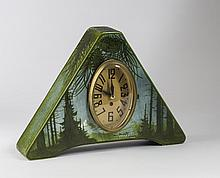 ARTS & CRAFTS PAINTED METAL MANTEL CLOCK CASE, SIGNED, EARLY TWENTIETH CENTURY.