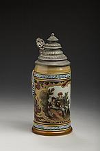 METTLACH (VILLEROY & BOCH) POTTERY .5 LITRE STEIN #1946, ETCHED WITH A SEVENTEENTH CENTURY COURTING SCENE, 1906.