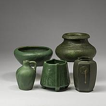 UNUSUAL GRUEBY POTTERY CURDLED GREEN-GLAZED VASE, BOSTON, MASSACHUSETTS, 1905-10.