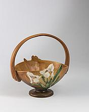 ROSEVILLE POTTERY TAN 'IRIS' BASKET, ZANESVILLE, OHIO, 1939-53.