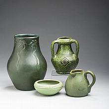 TWO ROOKWOOD POTTERY INCISED GREEN-GLAZED VASES, CINCINNATI, OHIO, 1905 AND 1907; AND A HAMPSHIRE POTTERY PITCHER, KEENE, NEW HAMPSHIRE, 1904-14.