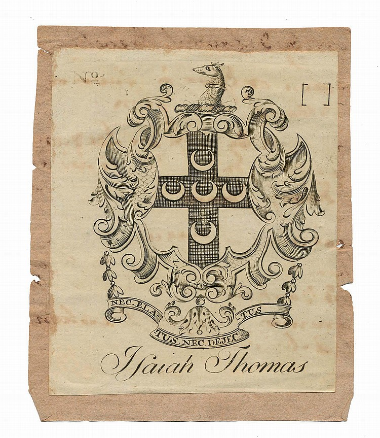 PAUL REVERE ARMORIAL JACOBEAN BOOKPLATE ENGRAVED FOR ISAIAH THOMAS (1749-1831).