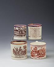 FOUR STAFFORDSHIRE CREAMWARE AND PEARLWARE RED AND BROWN TRANSFER-PRINTED AND PINK LUSTRE-BANDED CHILDREN'S MUGS, 1810-20.