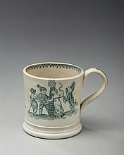 'MAY,' STAFFORDSHIRE PEARLWARE GREEN TRANSFER-PRINTED CHILDREN'S MUG, 1810-20.