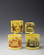 FOUR STAFFORDSHIRE YELLOW-GLAZED RED, BROWN AND BLACK TRANSFER-PRINTED CHILDREN'S MUGS, 1810-20.