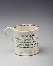 'MARCH,' STAFFORDSHIRE PEARLWARE BLACK TRANSFER-PRINTED CHILDREN'S MUG, 1810-20.