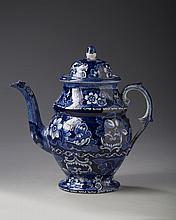 STAFFORDSHIRE PEARLWARE DARK BLUE TRANSFER-PRINTED COFFEEPOT, 1810-20.