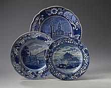 'AMERICAN VIEWS,' THREE STAFFORDSHIRE DARK BLUE TRANSFER-PRINTED PLATES, 1810-35.