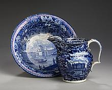 'CITY HALL, NEW YORK' AND 'INSANE ASYLUM, NEW YORK,' STAFFORDSHIRE PEARLWARE DARK BLUE TRANSFER-PRINTED PITCHER, JAMES & RALPH CLEWS, 1821-36; AND AN 'ENTRANCE OF THE ERIE CANAL INTO THE HUDSON AT ALBANY,' WASH BASIN, ENOCH WOOD & SONS, 1824-46.