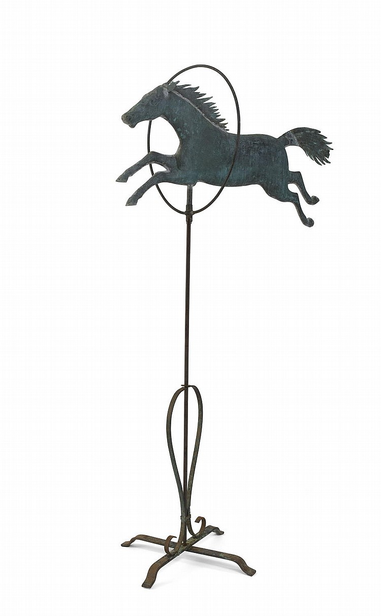 HORSE JUMPING THROUGH A HOOP FULL-BODIED COPPER WEATHERVANE, ATTRIBUTED TO JEWELL & COMPANY, WALTHAM, MASSACHUSETTS.