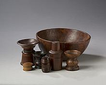 BURLWOOD BOWL AND GROUP OF SIX ENGLISH TREEN ARTICLES, NINETEENTH CENTURY.
