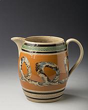 BRITISH PEARLWARE MOCHAWARE JUG, CIRCA 1830.