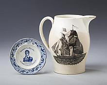 'GENERAL LAFAYETTE: WELCOME TO THE LAND OF LIBERTY,' RARE STAFFORDSHIRE DARK BLUE TRANSFER-PRINTED TODDY PLATE, ANDREW STEVENSON, 1824-30.