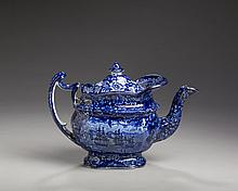 'COMMODORE MACDONNOUGH'S VICTORY: FLORAL BORDER' SERIES, STAFFORDSHIRE PEARLWARE DARK BLUE TRANSFER-PRINTED TEAPOT AND COVER, ENOCH WOOD & SONS, 1818-46.