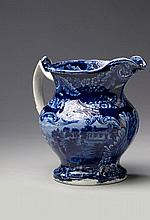 'MOUNT VERNON, WASHINGTON'S SEAT,' STAFFORDSHIRE PEARLWARE DARK BLUE TRANSFER-PRINTED PITCHER, UNKNOWN MAKER, EARLY NINETEENTH CENTURY.