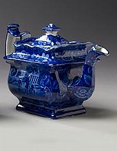'MOUNT VERNON, THE SEAT OF THE LATE GEN'L WASHINGTON,' STAFFORDSHIRE DARK BLUE TRANSFER-PRINTED TEAPOT AND COVER, UNKNOWN MAKER, EARLY NINETEENTH CENTURY.
