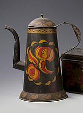 PENNSYLVANIA PAINTED TIN ASPHALTUM GOOSENECK COFFEEPOT, ATTRIBUTED TO THE FILLEY TINSHOP, PHILADELPHIA, 1825-50.