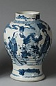 CHINESE EXPORT PORCELAIN BLUE AND WHITE GINGER JAR, QIANLONG PERIOD.