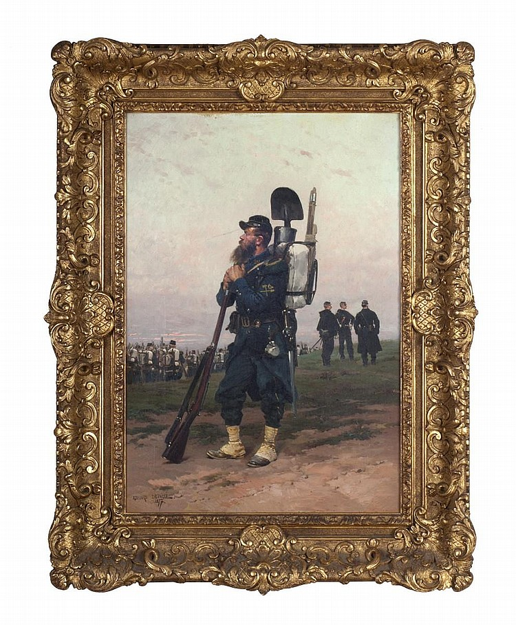 EDOUARD JEAN BAPTISTE DETAILLE (FRENCH 1848-1912). FRENCH INFANTRY SOLDIER.