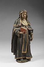 CONTINENTAL CARVED AND PAINTED WOOD FIGURE OF THE VIRGIN MARY HOLDING THE BIBLE, EIGHTEENTH-NINETEENTH CENTURY.